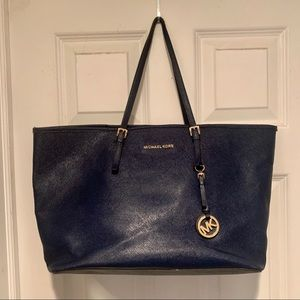 Large navy mk tote purse